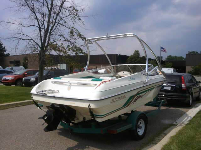 Airborne Tower wakeboard tower installed on 1995 Rinker Captiva 190 boat