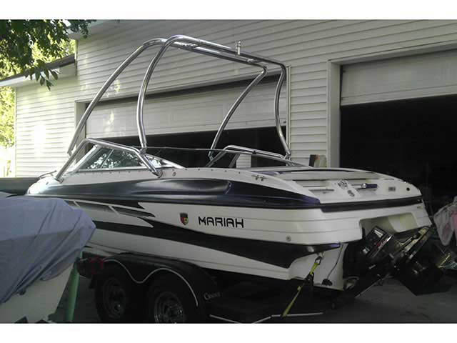 Airborne Tower wakeboard tower installed on 1996 Mariah Z201 Talari boat