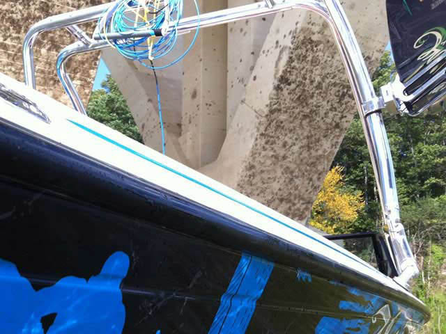 Airborne Tower wakeboard tower installed on 1990 Supra Conbrio boat
