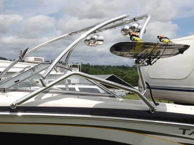 Airborne Tower wakeboard tower installed on Tahoe boat