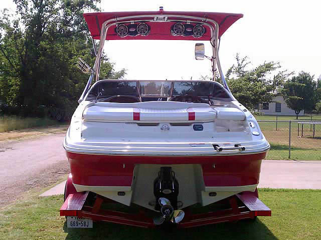 K2 Tower with Eclipse Bimini wakeboard tower installed on 2008 Caravelle 237 LS boat