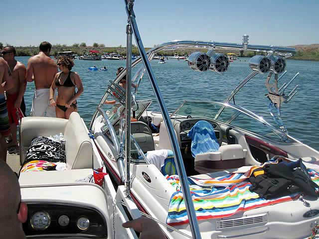Assault Tower wakeboard tower installed on 1997 Chaparral boat