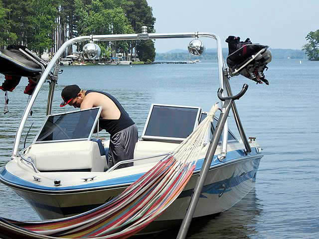 Ascent Tower wakeboard tower installed on 1989 Searay boat