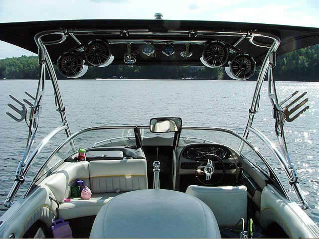 Assault Tower with Eclipse Bimini wakeboard tower installed on 2006 Malibu Response LXi boat