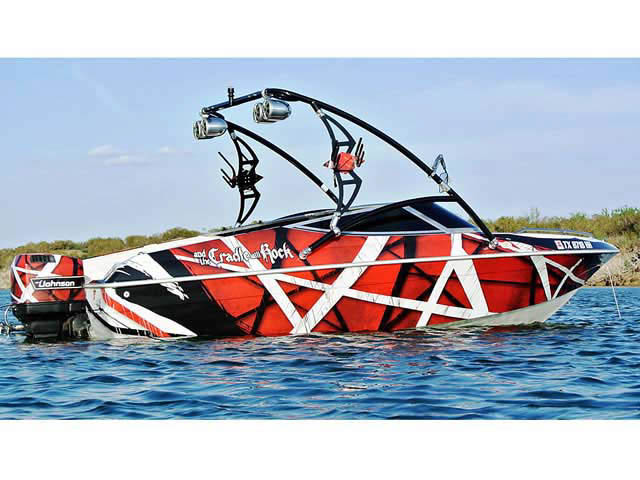 Assault Tower wakeboard tower installed on 1995 Sunbird boat