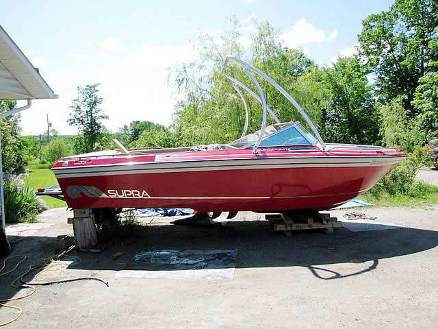 Ascent Tower wakeboard tower installed on 1986 Supra Sunsport Skier boat