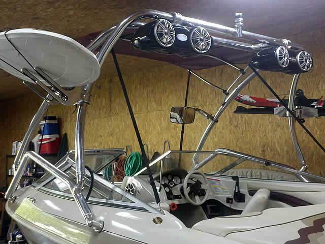 Airborne Tower wakeboard tower installed on 97 Larson 186 boat