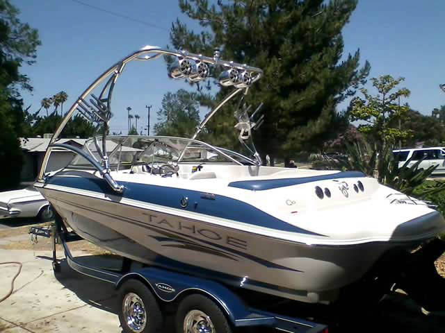 Assault Tower wakeboard tower installed on 2006 Tahoe Q6 boat