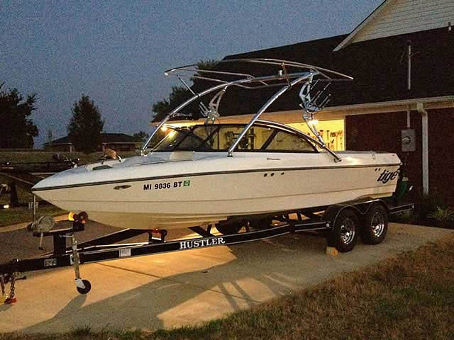 Assault Tower with Eclipse Bimini wakeboard tower installed on 2000 Tige 21V boat