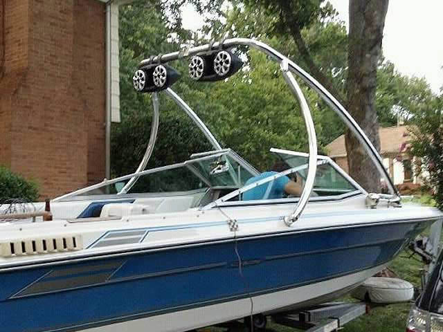 Ascent Tower wakeboard tower installed on 1986 Sea Ray Seville boat