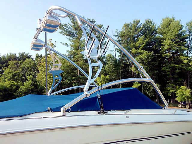 Assault Tower wakeboard tower installed on 1998 Sea Ray 230 BR boat