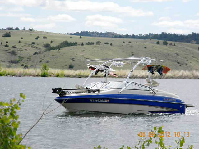 Airborne Tower with Eclipse Bimini wakeboard tower installed on 2005 Glastron boat