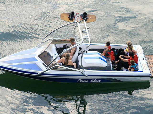 Airborne Tower wakeboard tower installed on 1988 Pismo Skier boat