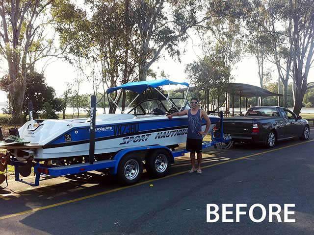 Airborne Tower wakeboard tower installed on 1994 Sport Nautique boat