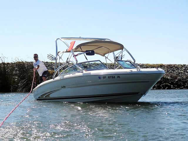 Airborne Tower wakeboard tower installed on 2001 SeaRay Bowrider boat