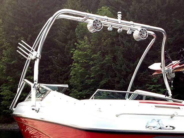 Airborne Tower wakeboard tower installed on 1993 Crownline 19.5' boat