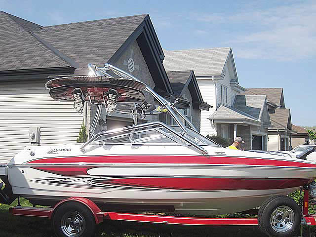 Airborne Tower wakeboard tower installed on 2010 Glastron GT185 boat