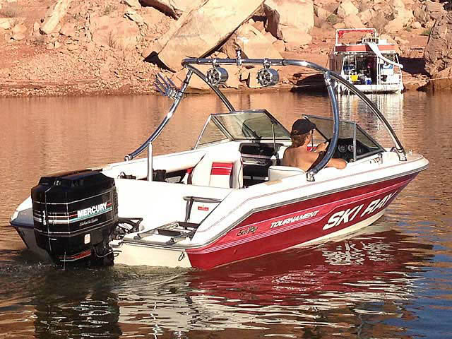 Ascent Tower wakeboard tower installed on 1993 Sea Ray Ski Rat boat