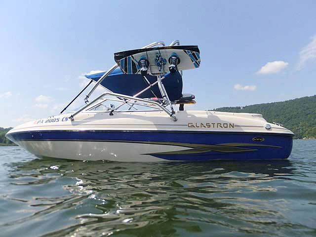 Airborne Tower wakeboard tower installed on 2003 Glastron GX205 boat
