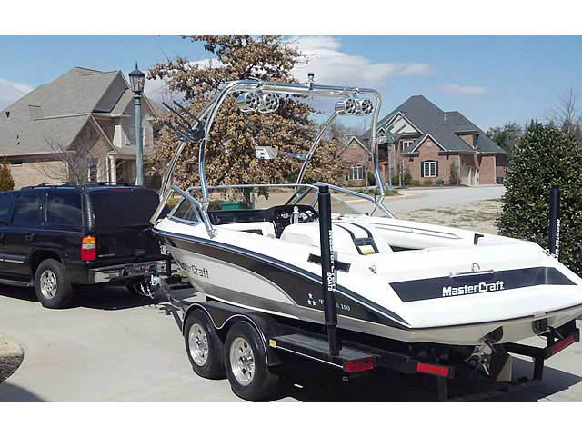 Airborne Tower wakeboard tower installed on 1989 Mastercraft TriStar 190 boat