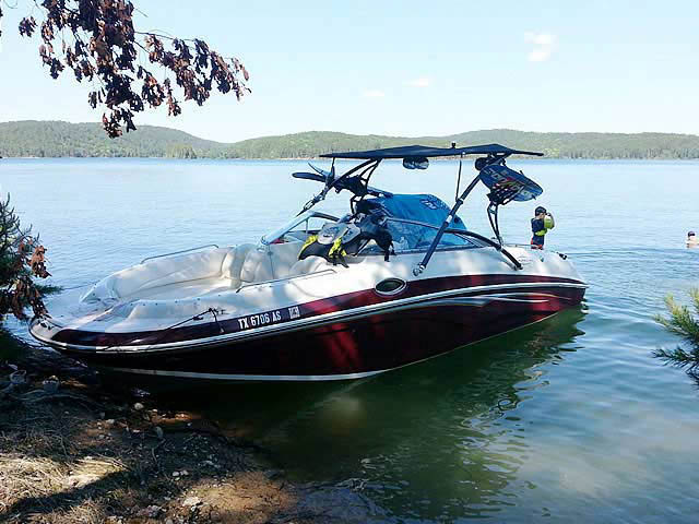 Assault Tower with Eclipse Bimini wakeboard tower installed on 2007 Tahoe 265 boat