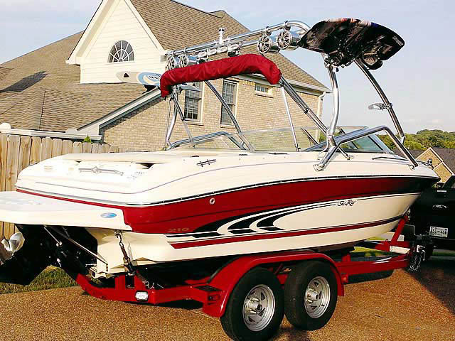 Airborne Tower wakeboard tower installed on 1998 Sea Ray  210BR boat