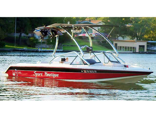 Airborne Tower with Eclipse Bimini wakeboard tower installed on 1991 Sport Nautique boat