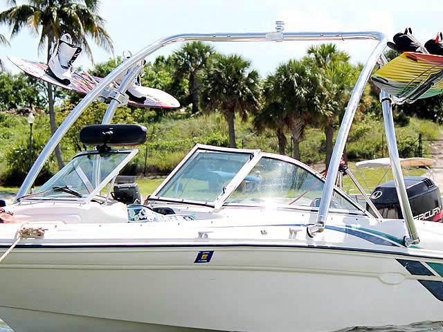 Ascent Tower wakeboard tower installed on 1998 Sea Ray 180 Bow Rider boat