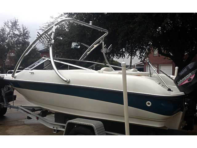 Ascent Tower wakeboard tower installed on 1999 Larson 18ft boat