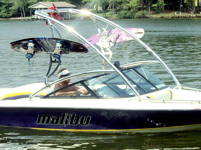 Assault Tower wakeboard tower installed on 2003 Malibu Sportster boat
