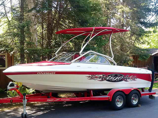 Airborne Tower with Eclipse Bimini wakeboard tower installed on 2007 Tige 20i boat