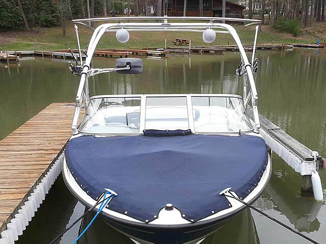Airborne Tower with Eclipse Bimini wakeboard tower installed on 2005 Bayliner 205 boat