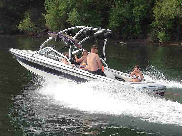 Airborne Tower wakeboard tower installed on 1998 Sanger DLX boat
