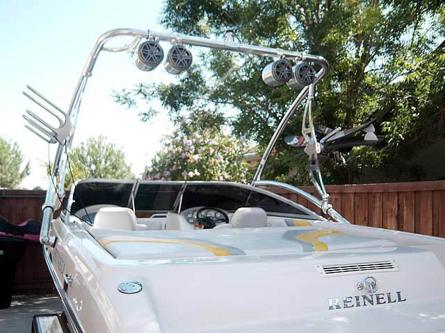 Assault Tower wakeboard tower installed on 2004 Reinell boat