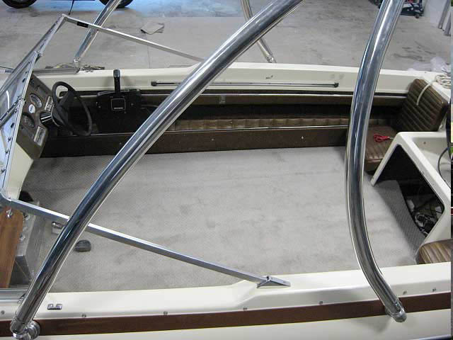Ascent Tower wakeboard tower installed on 1973 Glastron V178 boat