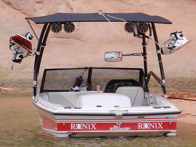 Airborne Tower with Eclipse Bimini wakeboard tower installed on 1992 Brendella Pro Comp boat