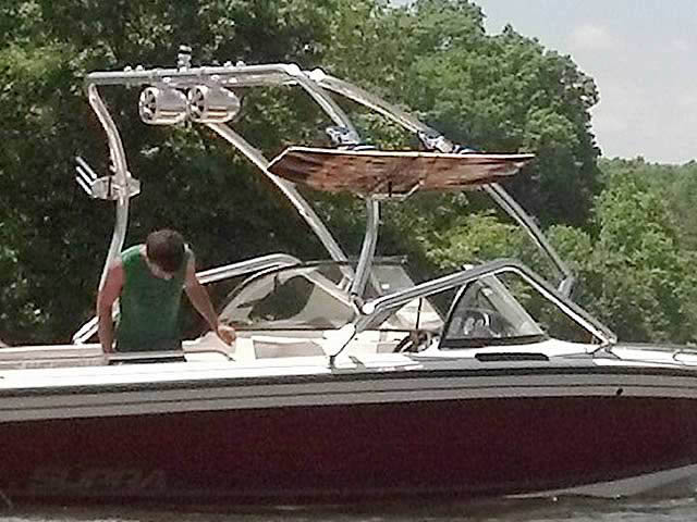 Airborne Tower wakeboard tower installed on 1998 Supra Saltare  boat