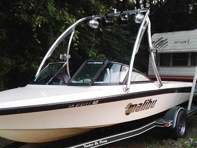 Ascent Tower wakeboard tower installed on 1998 Malibu Sportster boat
