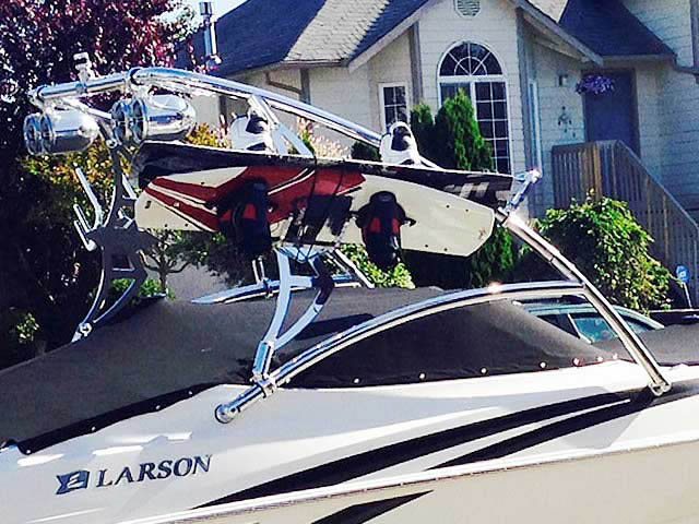 Assault Tower wakeboard tower installed on 2008,Larson Senza 226 boat