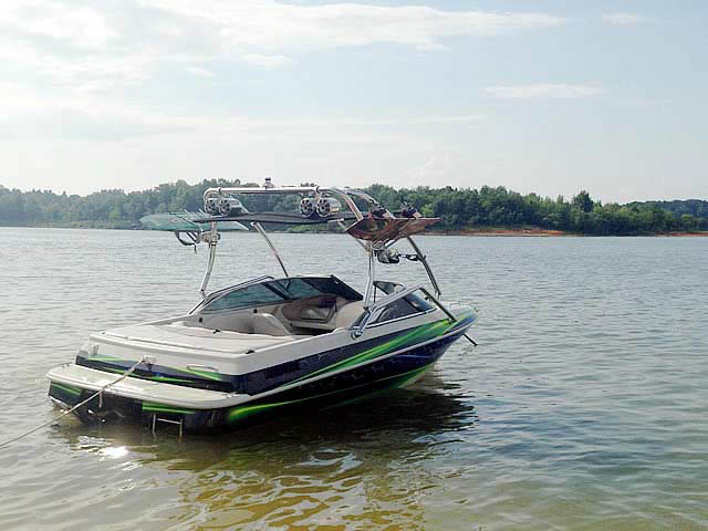 Airborne Tower wakeboard tower installed on 1996 Sylvan Runabout boat