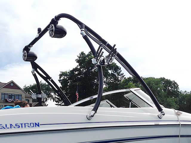 Ascent Tower with Eclipse Bimini wakeboard tower installed on 2005 Glastron MX 175 boat