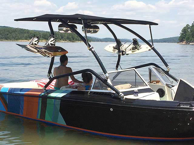 Airborne Tower with Eclipse Bimini wakeboard tower installed on 1983 Supra Rider boat