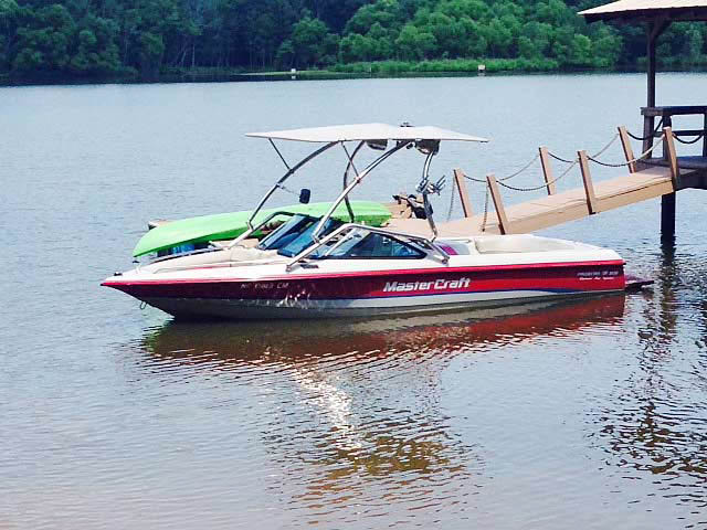 Airborne Tower with Eclipse Bimini wakeboard tower installed on 1994 MasterCraft Prostar 205 boat
