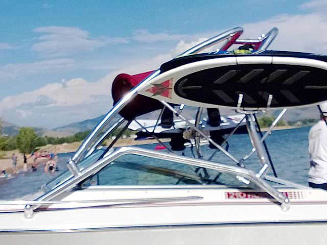 Airborne Tower wakeboard tower installed on 1990 Four Winns 22 ft boat