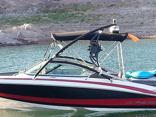 Assault Tower wakeboard tower installed on 2010 Regal 2100 LSR boat