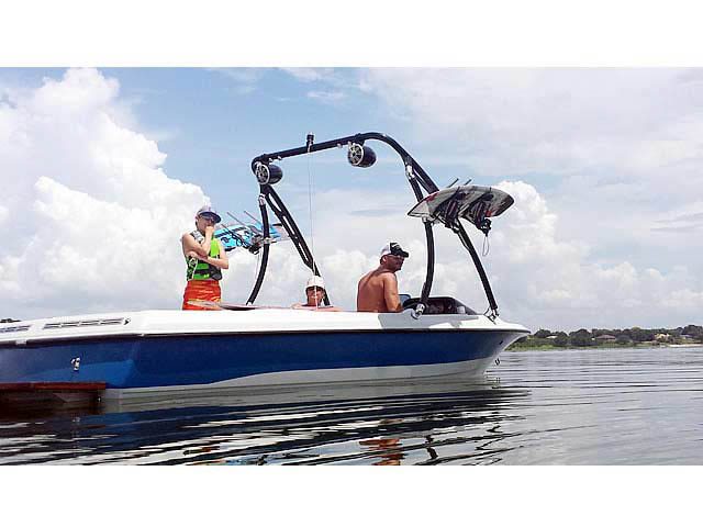 Ascent Tower wakeboard tower installed on 1991 Mastercraft Prostar 190 boat