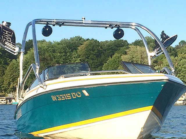 Airborne Tower wakeboard tower installed on 1992 Sunbird 205 Corsair boat